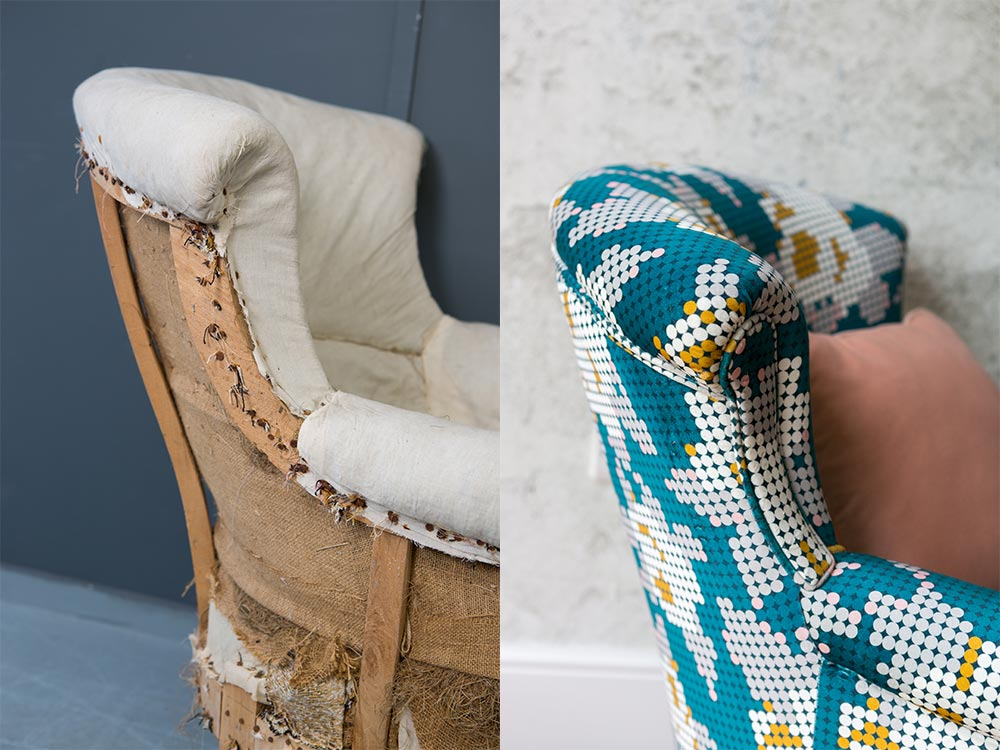 Before and after chaise longue upholstery