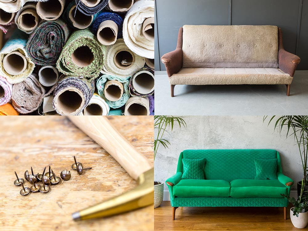 re-upholstery process and tools, brown sofa reupholstered to be a green sofa