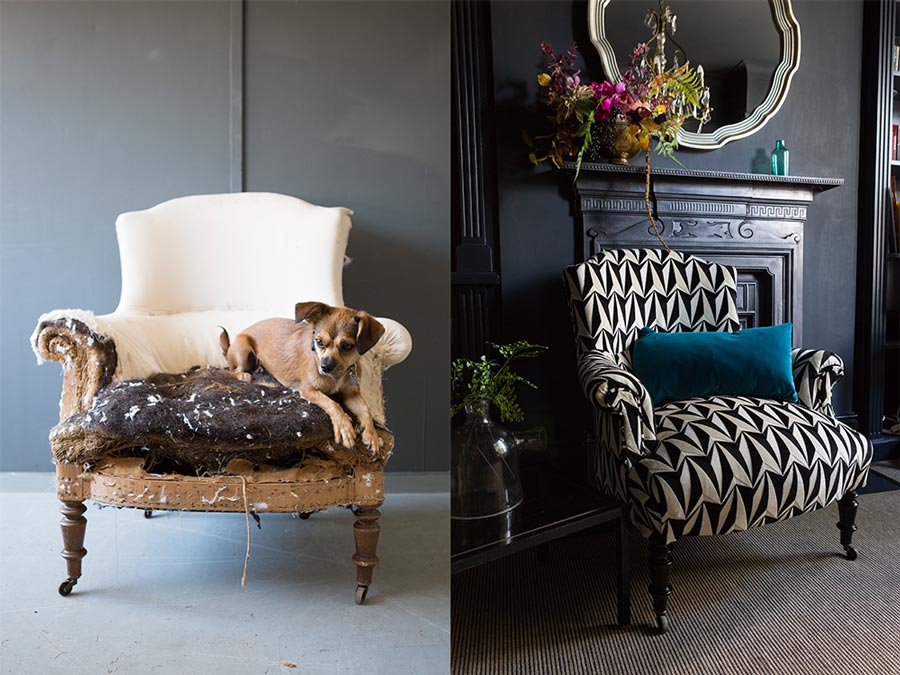 Before and after chair upholstery black and white patterned chair.