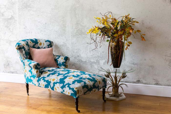 Chaise Longue sofa after being upholstered by Vintique Upholstery