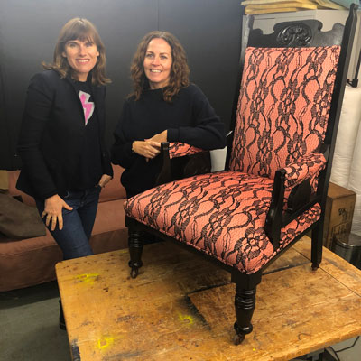 Sharon O'Connor with Money For Nothing TV presenter Sarah Moore. Showcasing reupholstered antique chair in Rebecca J Mills delicate one velvet fabric.