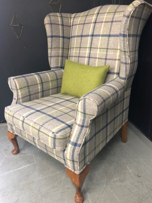 Reupholstered armchair in Abraham Moon & Sons fabric