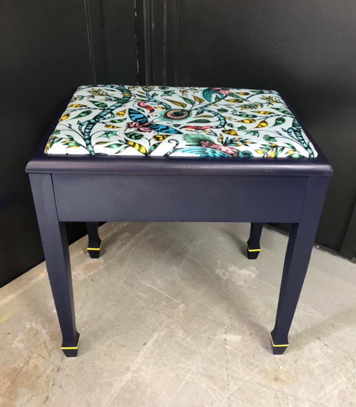 Completed upcycled and upholstered vintage piano stool