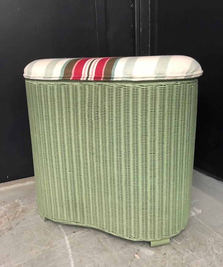 Lloyd loom laundry basket painted in green chalk satin paint from Homebase; striped fabric was an off-cut from a sample sale