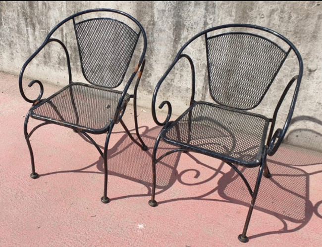 Old iron garden chairs