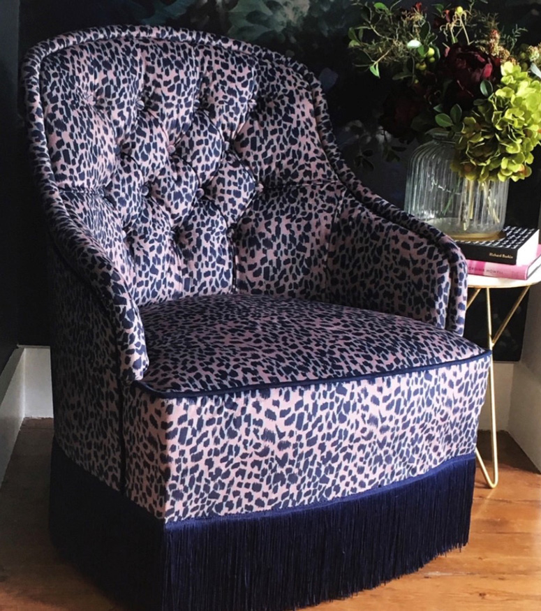 Reupholstered armchair in Rebecca J Mills fabric