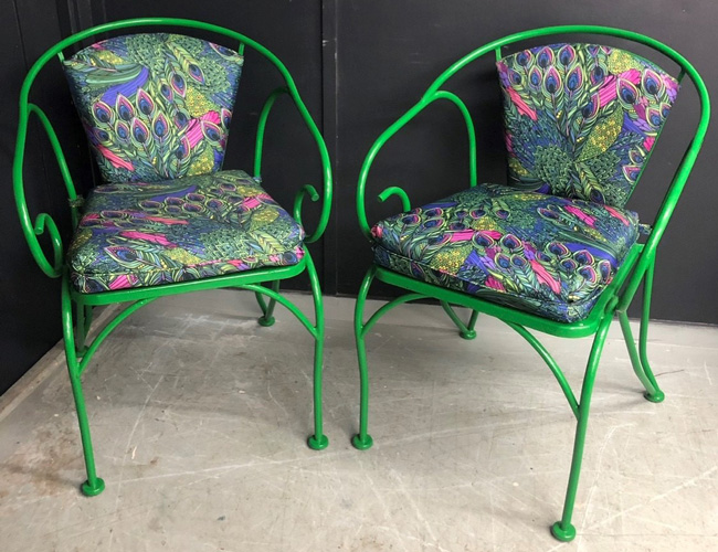 Repaired iron garden chairs in luminous green