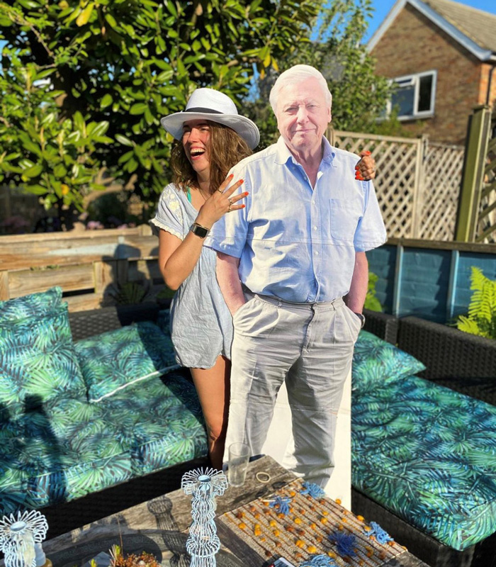 Cardboard cutout of David Attenborough amongst Lisa Potter-Dixon's outdoor sofa set