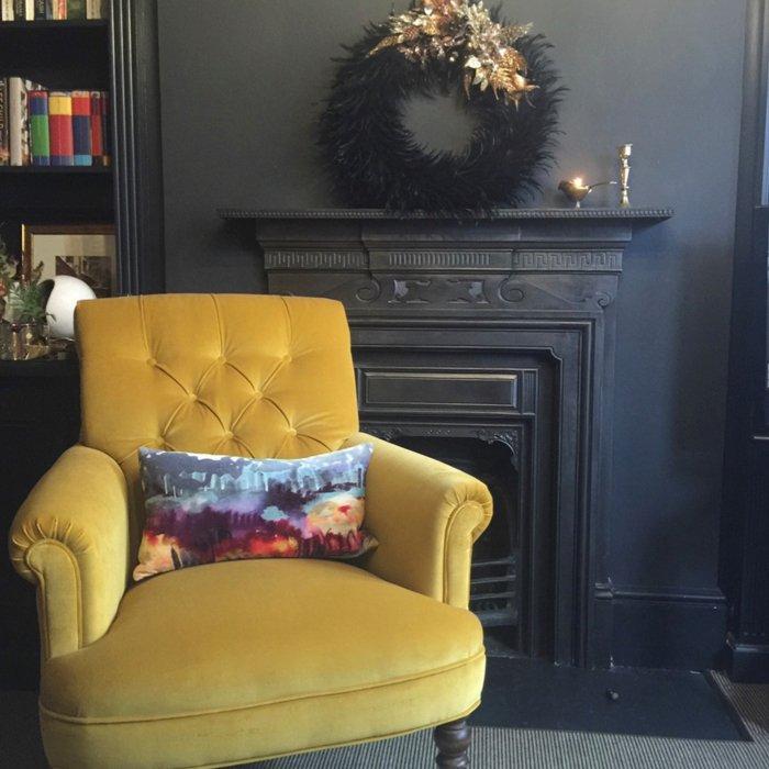 Reupholstered armchair in mustard velvet