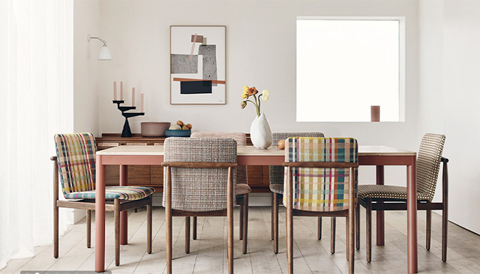 Oxley Range by Romo dining room table and chairs