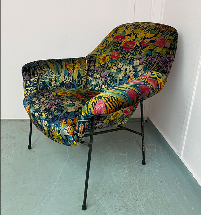 Patterned fabric armchair