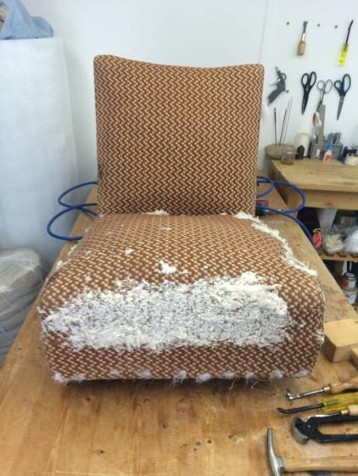 Reupholstery project in the workshop