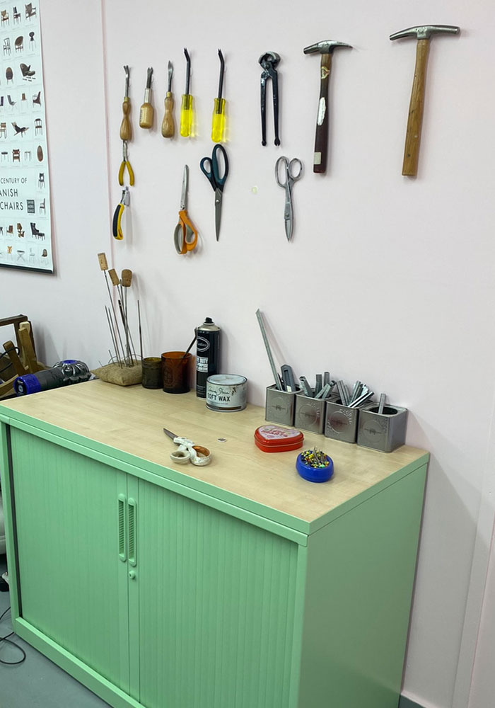 Reupholstery tools in upholstery workshop