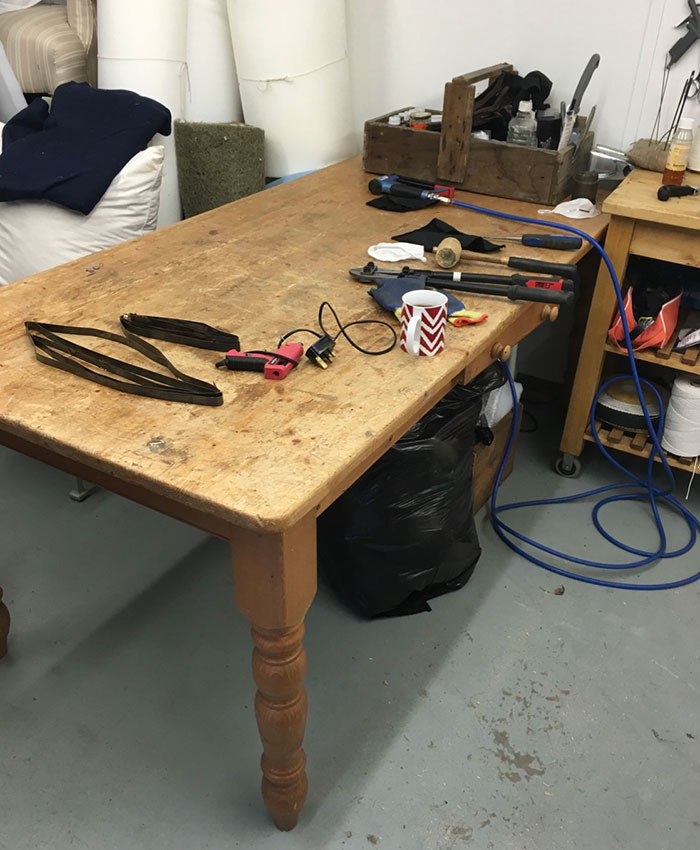 Upholstery workshop work bench