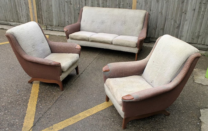 Sofa and two armchairs with low arms ready for reupholstery