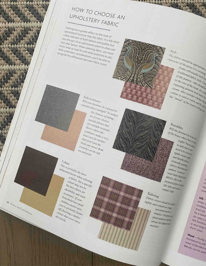 The Upholstery Bible - How to choose an upholstery fabric page