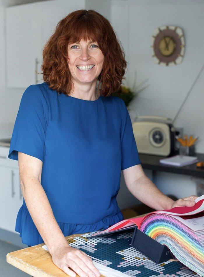 Sharon O'Connor looking at new fabrics