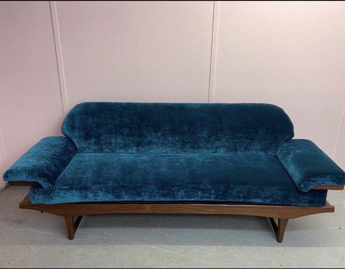Blue velvet reupholstered sofa