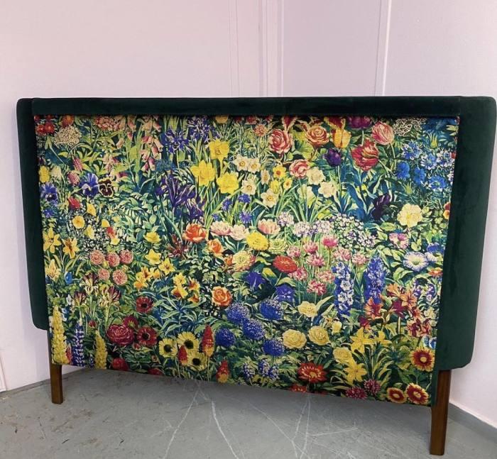 Floral patterned reupholstered headboard