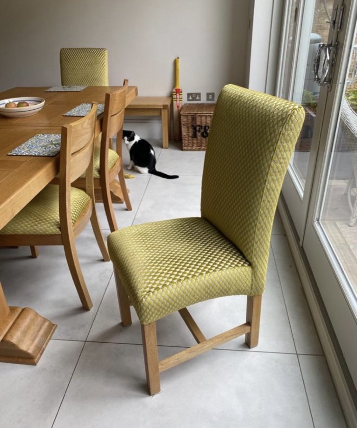 Lime green reupholstered dining room chair