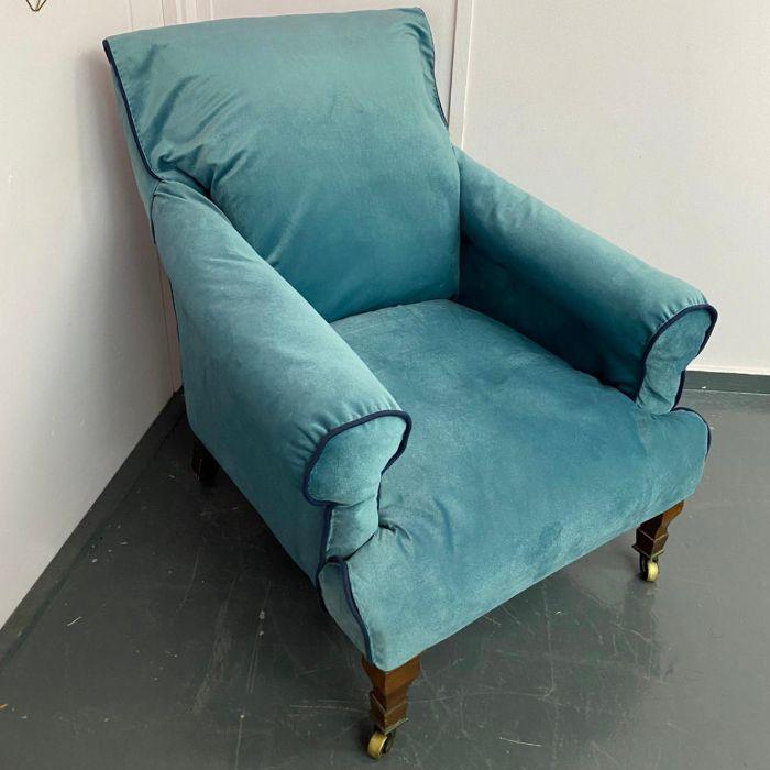 19th Century Cornelius V Smith arm chair with blue velvet material